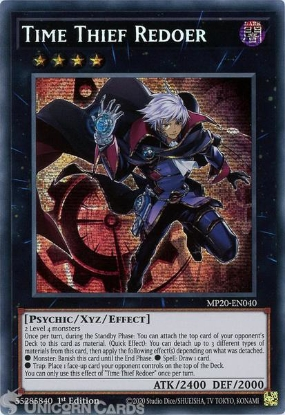 Picture of MP20-EN040 Time Thief Redoer Prismatic Secret Rare 1st Edition Mint YuGiOh Card