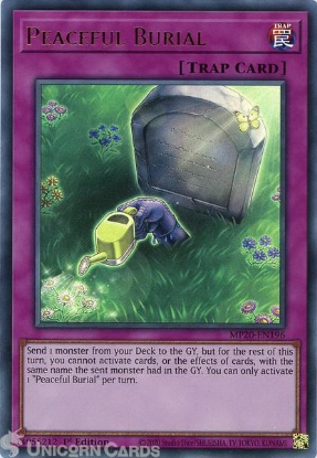 Picture of MP20-EN196 Peaceful Burial Ultra Rare 1st Edition Mint YuGiOh Card