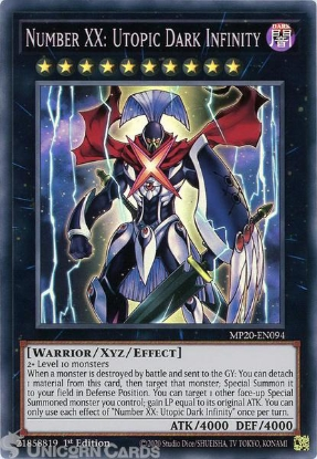 Picture of MP20-EN094 Number XX: Utopic Dark Infinity Super Rare 1st Edition Mint YuGiOh Card
