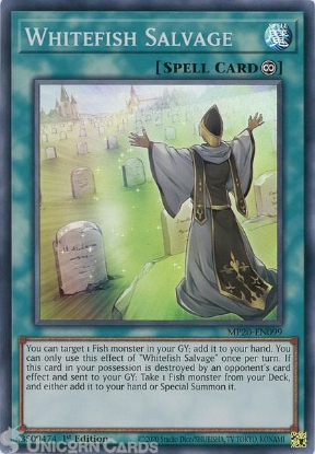 Picture of MP20-EN099 Whitefish Salvage Super Rare 1st Edition Mint YuGiOh Card