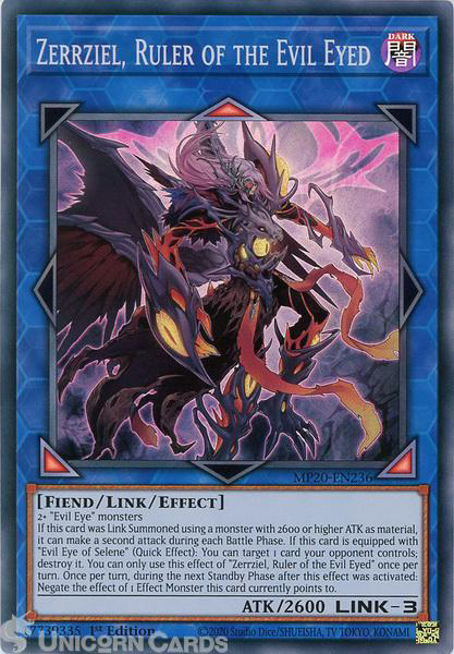 Picture of MP20-EN236 Zerrziel, Ruler of the Evil Eyed Super Rare 1st Edition Mint YuGiOh Card
