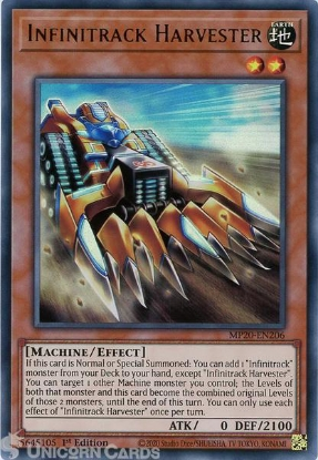 Picture of MP20-EN206 Infinitrack Harvester Ultra Rare 1st Edition Mint YuGiOh Card