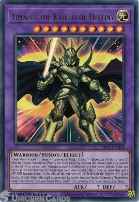 Picture of DLCS-EN054 Timaeus the Knight of Destiny Ultra Rare 1st Edition Mint YuGiOh Card