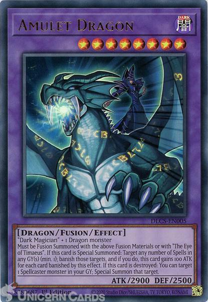 Picture of DLCS-EN005 Amulet Dragon Ultra Rare 1st Edition Mint YuGiOh Card