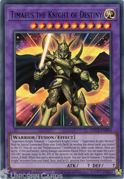 Picture of DLCS-EN054-B Timaeus the Knight of Destiny :: Blue :: Ultra Rare 1st Edition Mint YuGiOh Card