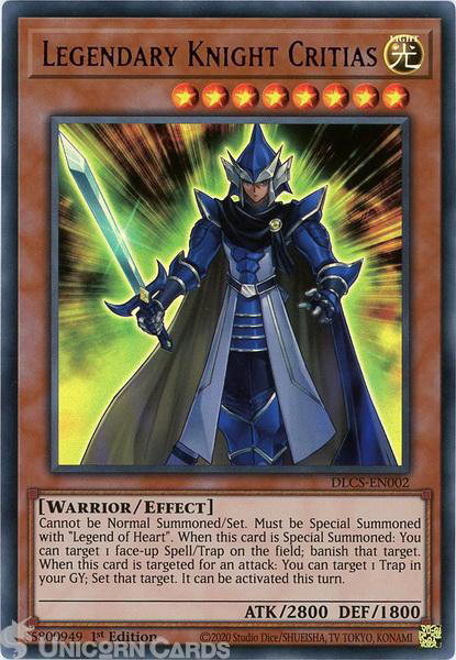 Picture of DLCS-EN002-P Legendary Knight Critias :: Purple :: Ultra Rare 1st Edition Mint YuGiOh Card