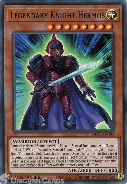 Picture of DLCS-EN003-B Legendary Knight Hermos :: Blue :: Ultra Rare 1st Edition Mint YuGiOh Card