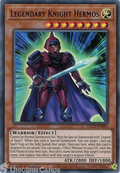 Picture of DLCS-EN003-P Legendary Knight Hermos :: Purple :: Ultra Rare 1st Edition Mint YuGiOh Card