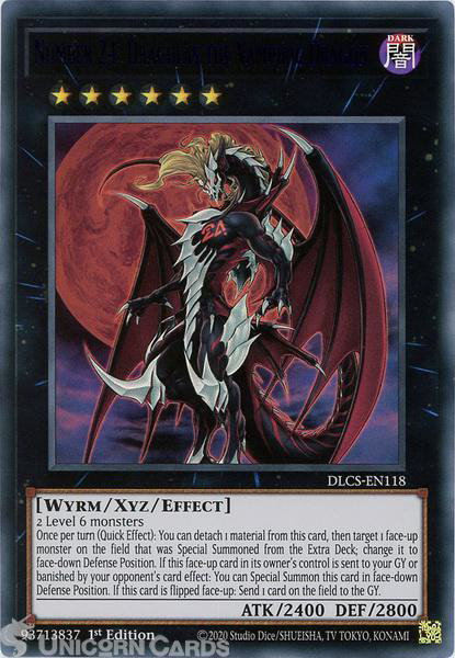Picture of DLCS-EN118-B Number 24: Dragulas the Vampiric Dragon :: Blue :: Ultra Rare 1st Edition Mint YuGiOh Card