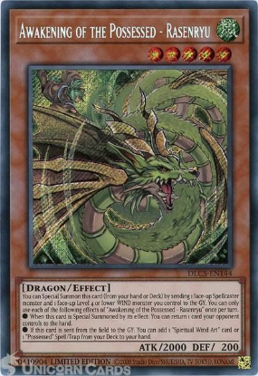 Picture of DLCS-EN144 Awakening of the Possessed - Rasenryu Secret Rare Limited Edition Mint YuGiOh Card