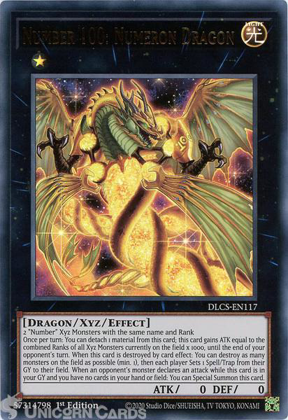 Picture of DLCS-EN117 Number 100: Numeron Dragon Ultra Rare 1st Edition Mint YuGiOh Card